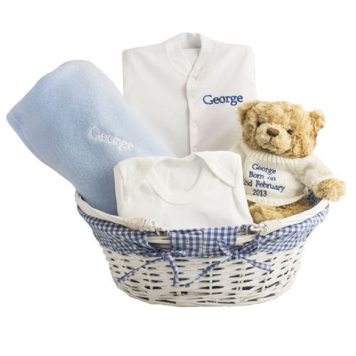 Personalised Blue Baby Basket